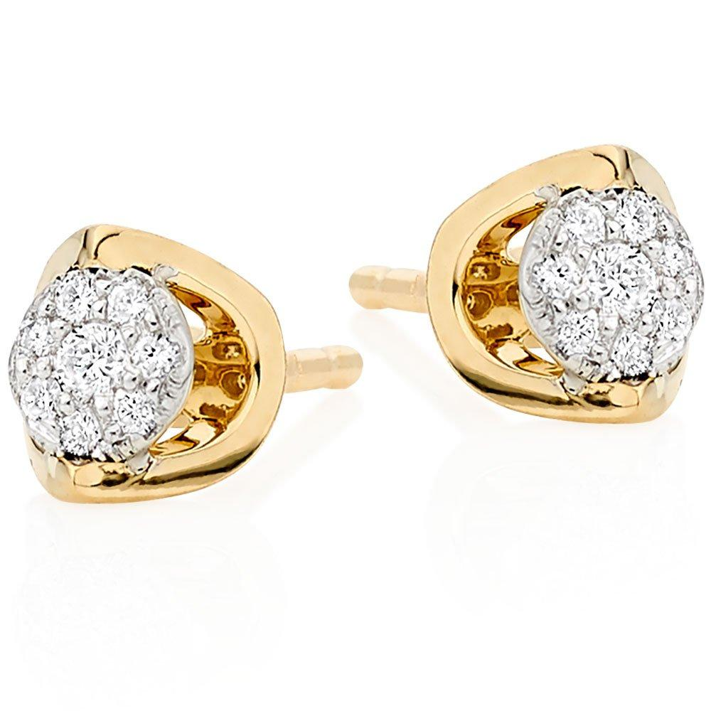 9ct Gold Diamond Cluster Earrings