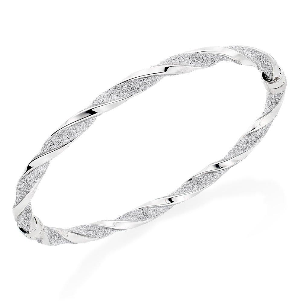 Glitter and Sparkle 9ct White Gold Twist Bangle