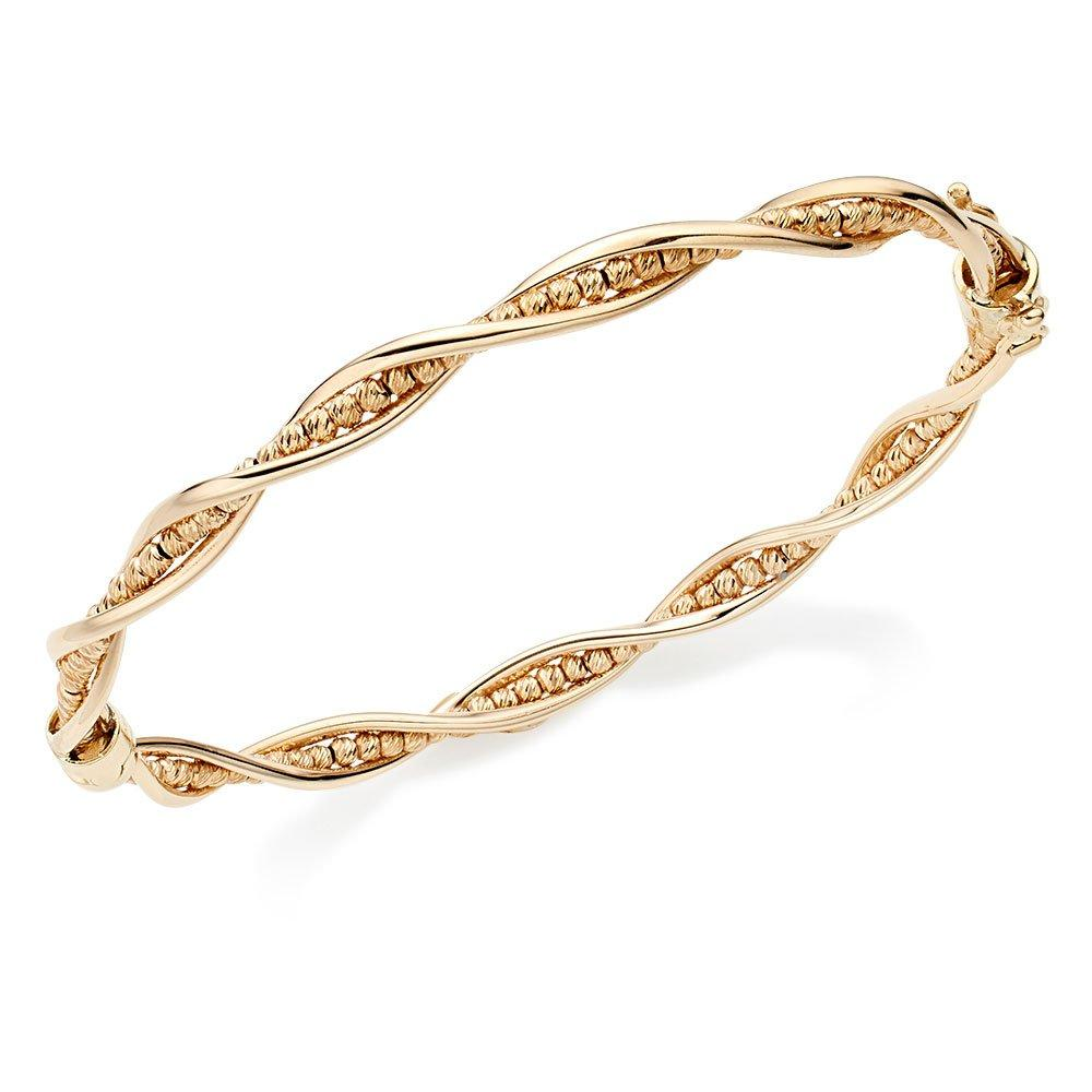 9ct Gold Sparkle Cut Twist Bangle