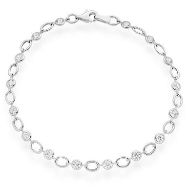 9ct White Gold Cubic Zirconia Bracelet