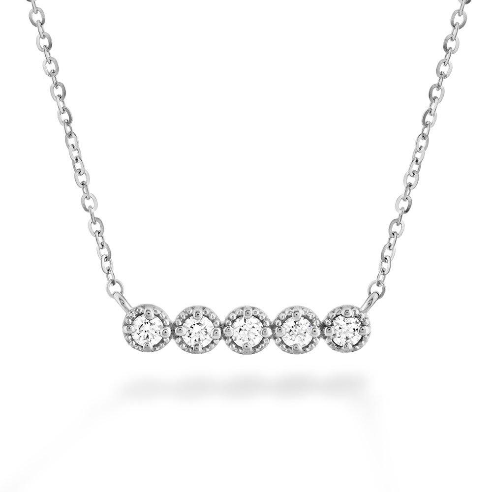 Hearts On Fire Liliana Milgrain 18ct White Gold Diamond Bar Necklace