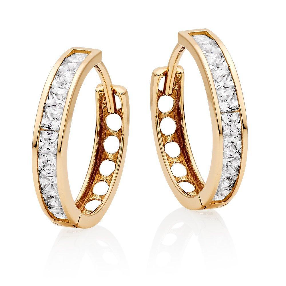 9ct Gold Cubic Zirconia Hoop Earrings