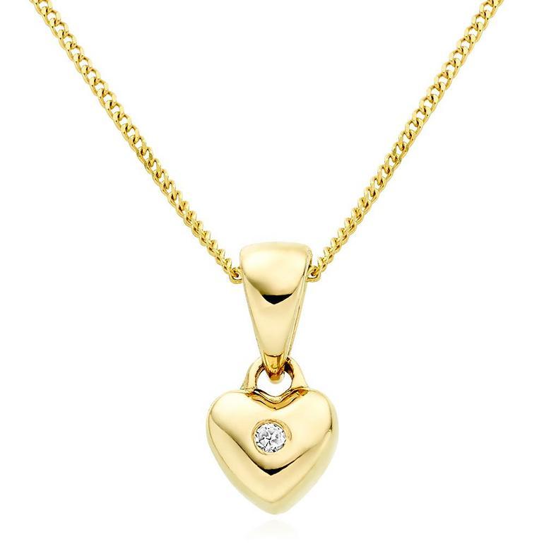 Mini B 9ct Gold Diamond Heart Pendant