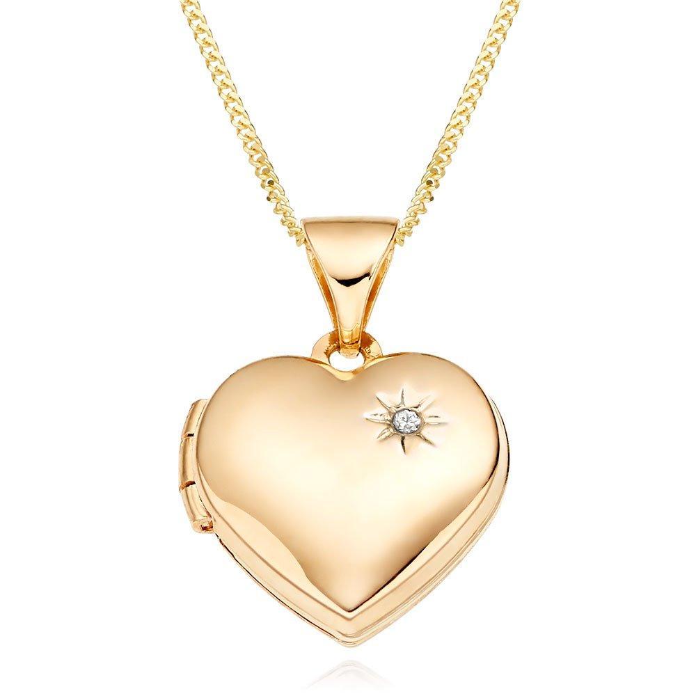 Mini B 9ct Gold Diamond Heart Locket