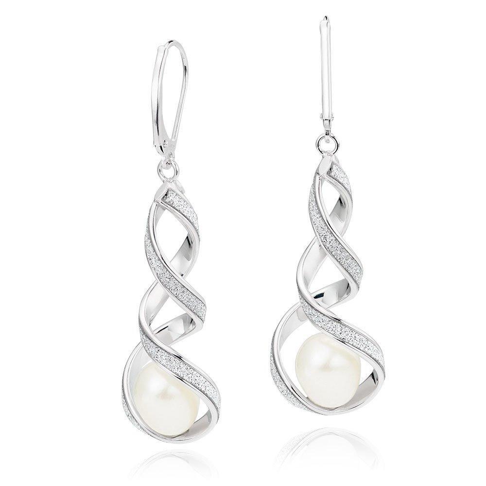 9ct White Gold Freshwater Pearl Glitter Drop Earrings