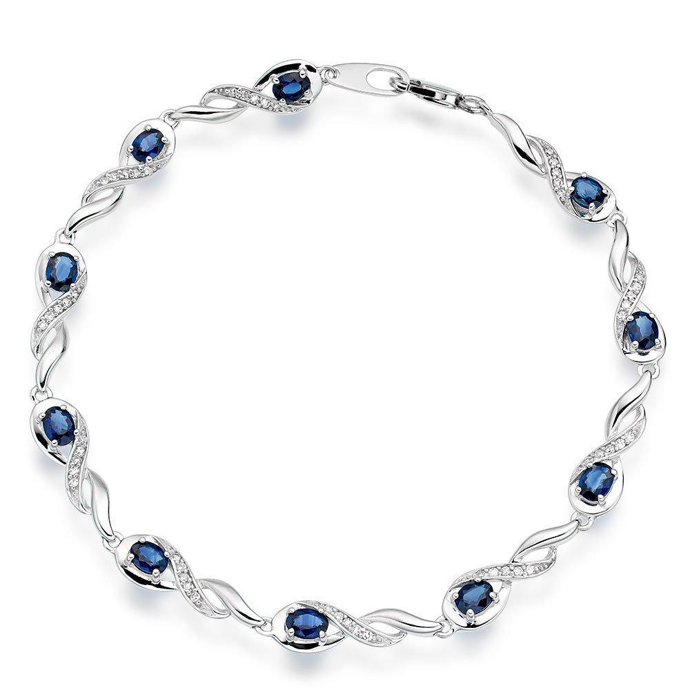 9ct White Gold Diamond Sapphire Bracelet