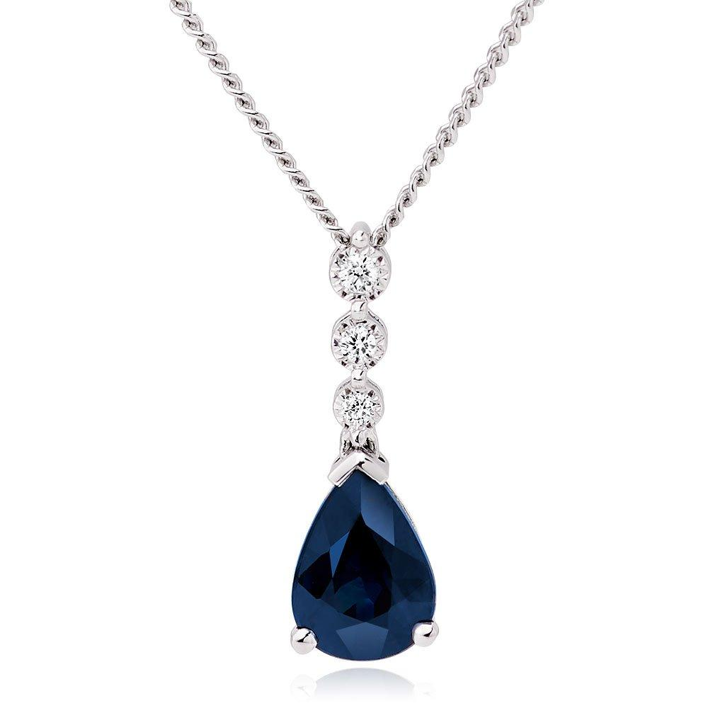 9ct White Gold Diamond and Sapphire Pendant
