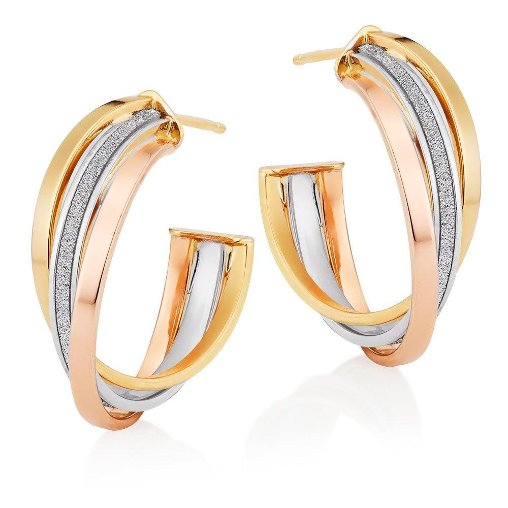 9ct Three Colour Gold Glitter Hoop Earrings