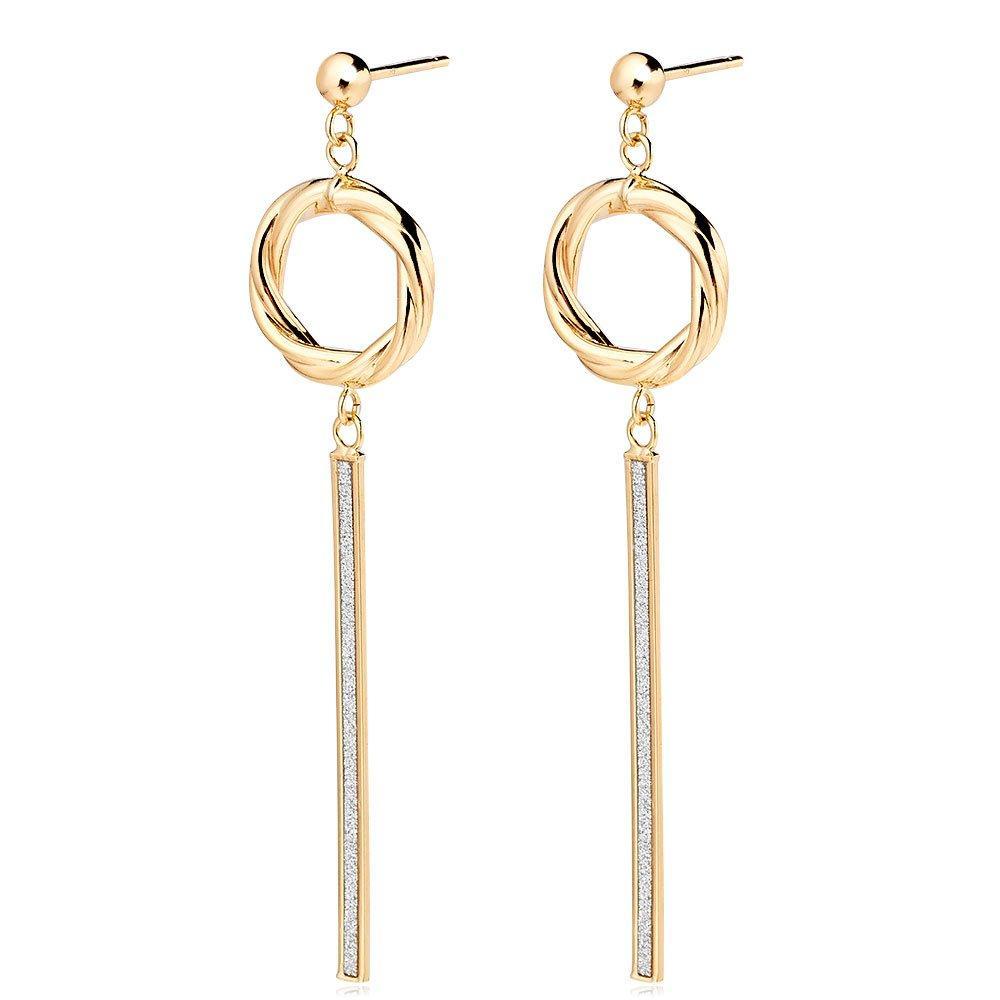 9ct Gold Glitter Twist Drop Earrings