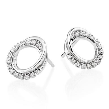 9ct White Gold Diamond Circle Earrings