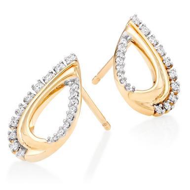 9ct Gold Diamond Teardrop Earrings