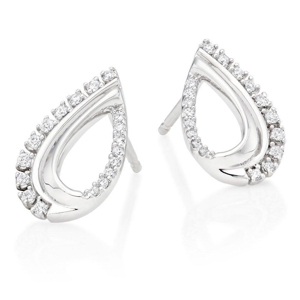 9ct White Gold Diamond Teardrop Earrings