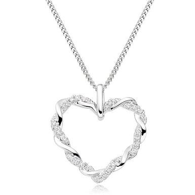 Entwine 9ct White Gold Diamond Heart Pendant