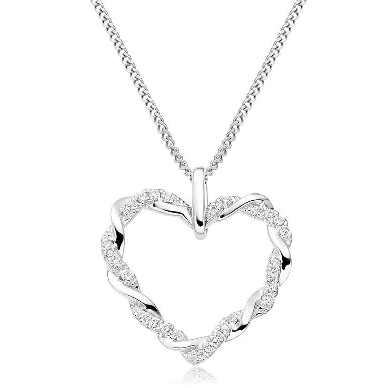 Entwine 9ct White Gold Diamond Heart Pendant