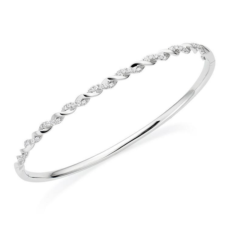 Entwine 18ct White Gold Diamond Twist Bangle