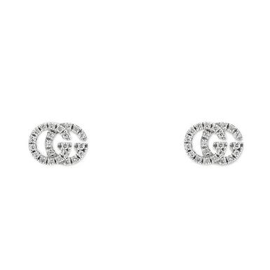 Gucci 18ct White Gold Diamond Running G Earrings