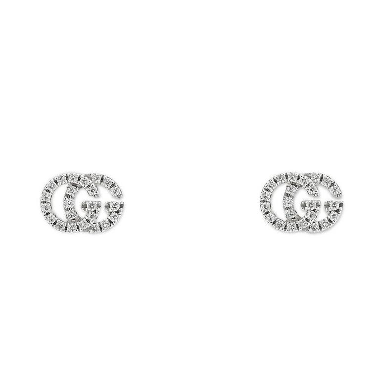 Gucci Running G 18ct White Gold Diamond Earrings