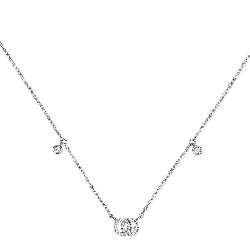 Gucci Running G 18ct White Gold Diamond Necklace