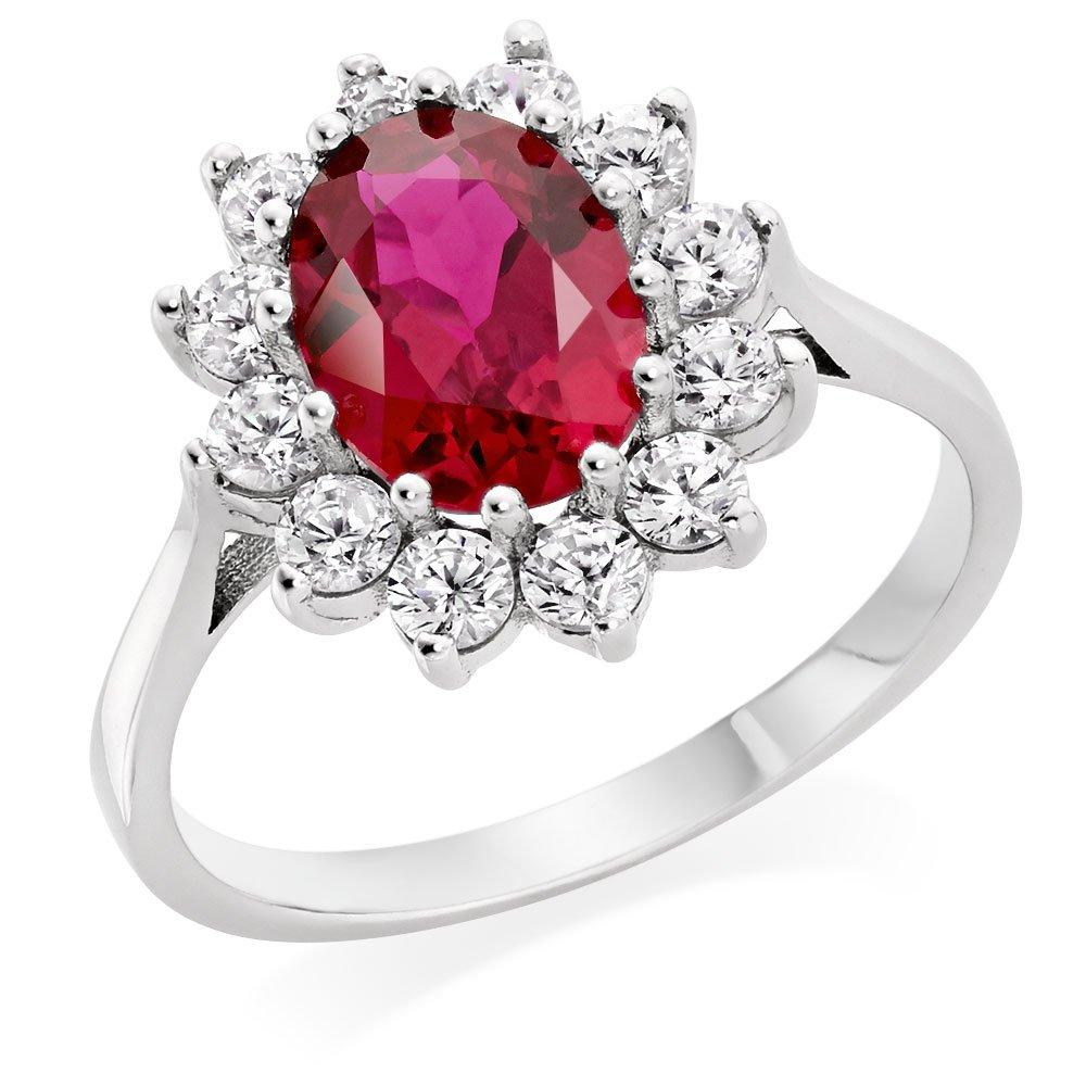 9ct White Gold Red Cubic Zirconia Halo Ring