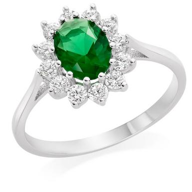 9ct White Gold Green Cubic Zirconia Halo Ring