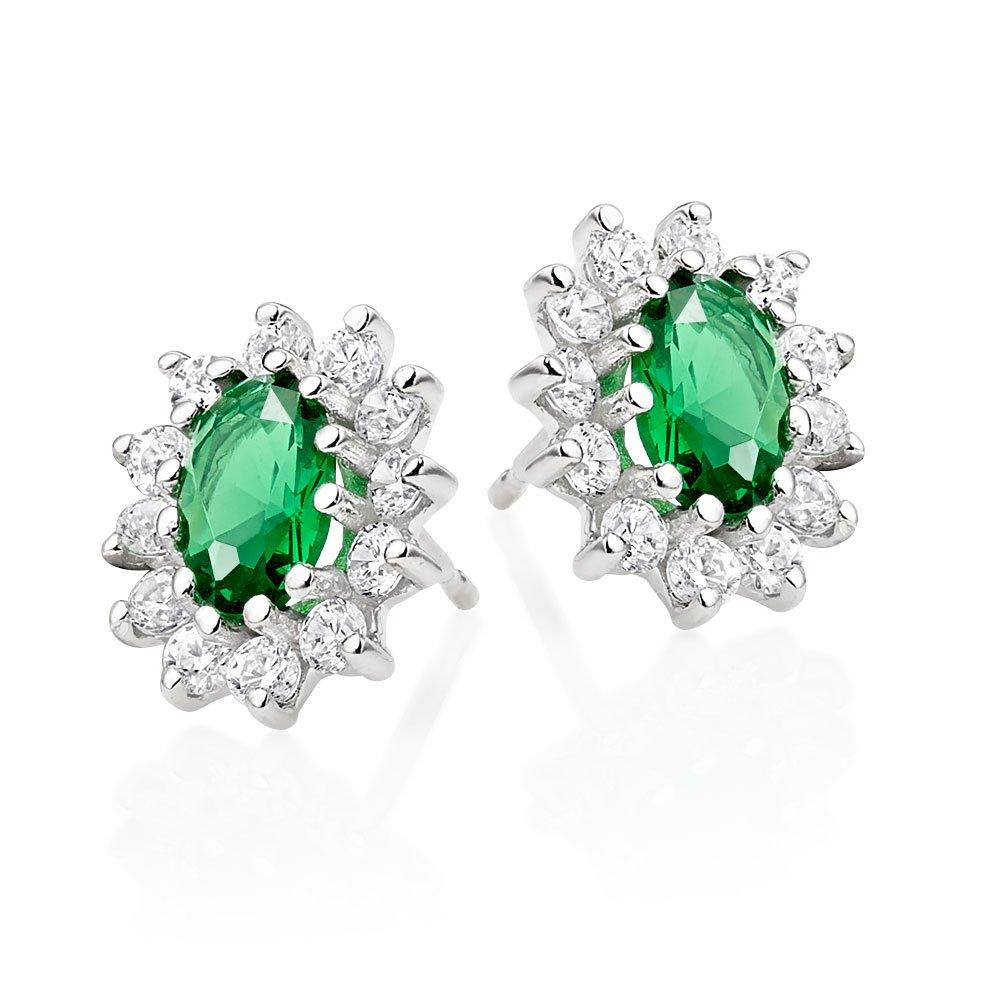 9ct White Gold Green Cubic Zirconia Halo Earrings