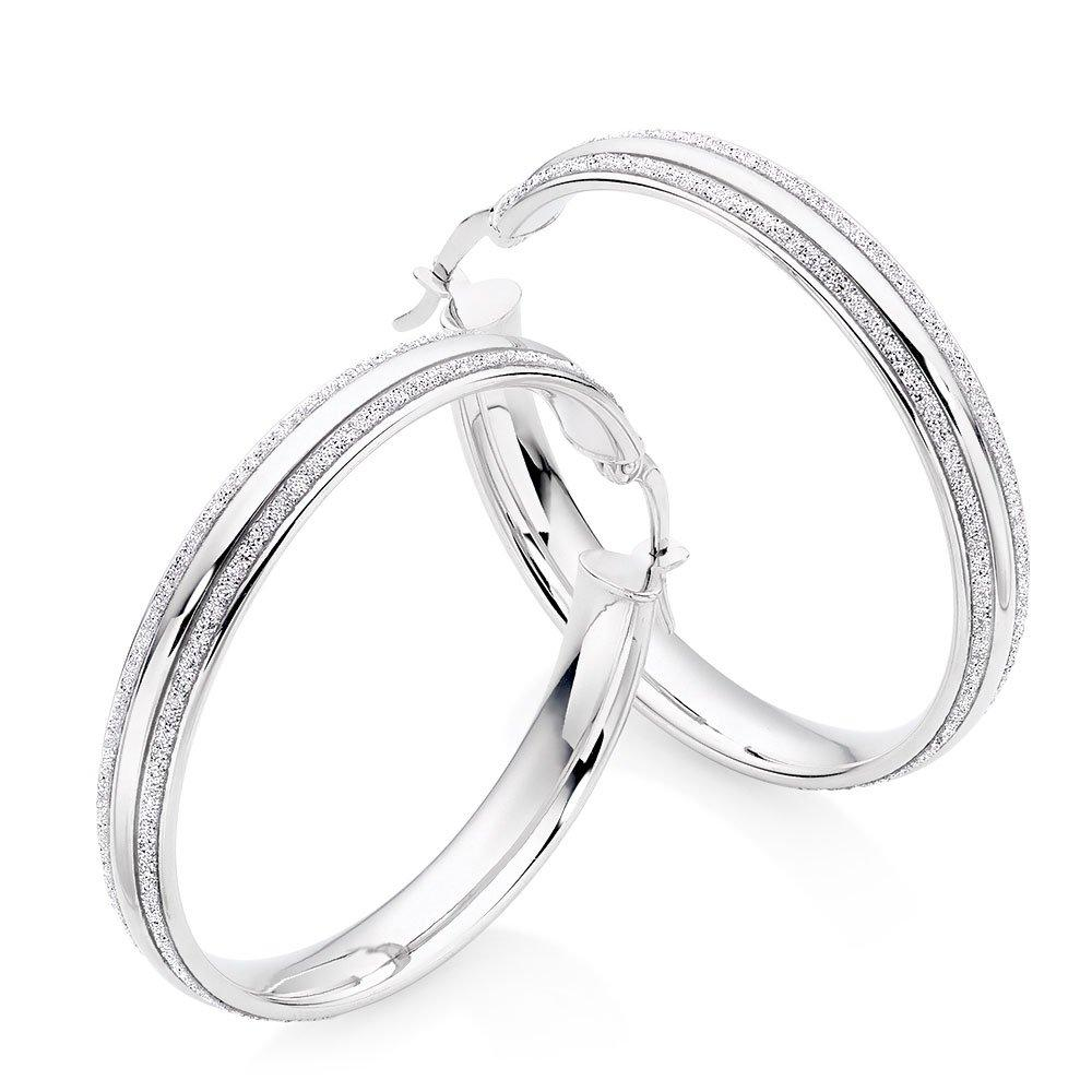 9ct White Gold Glitter Hoop Earrings