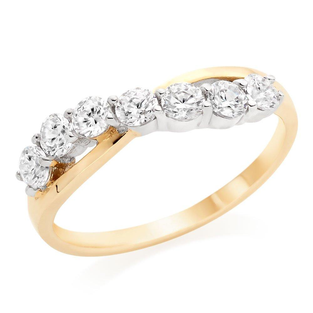 9ct Gold Cubic Zirconia Twist Ring