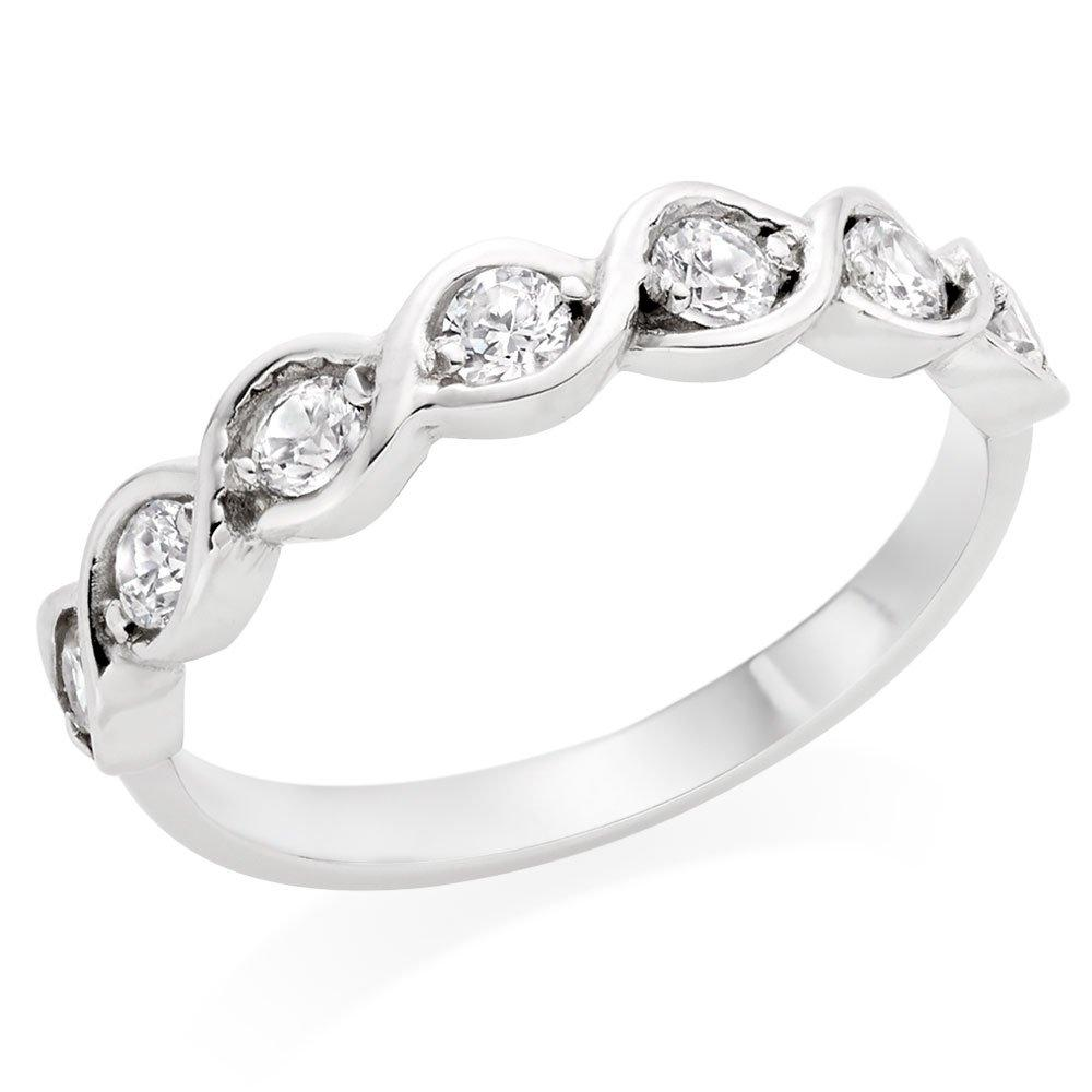 9ct White Gold Cubic Zirconia Rubover Ring