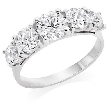 9ct White Gold Cubic Zirconia Graduated Ring