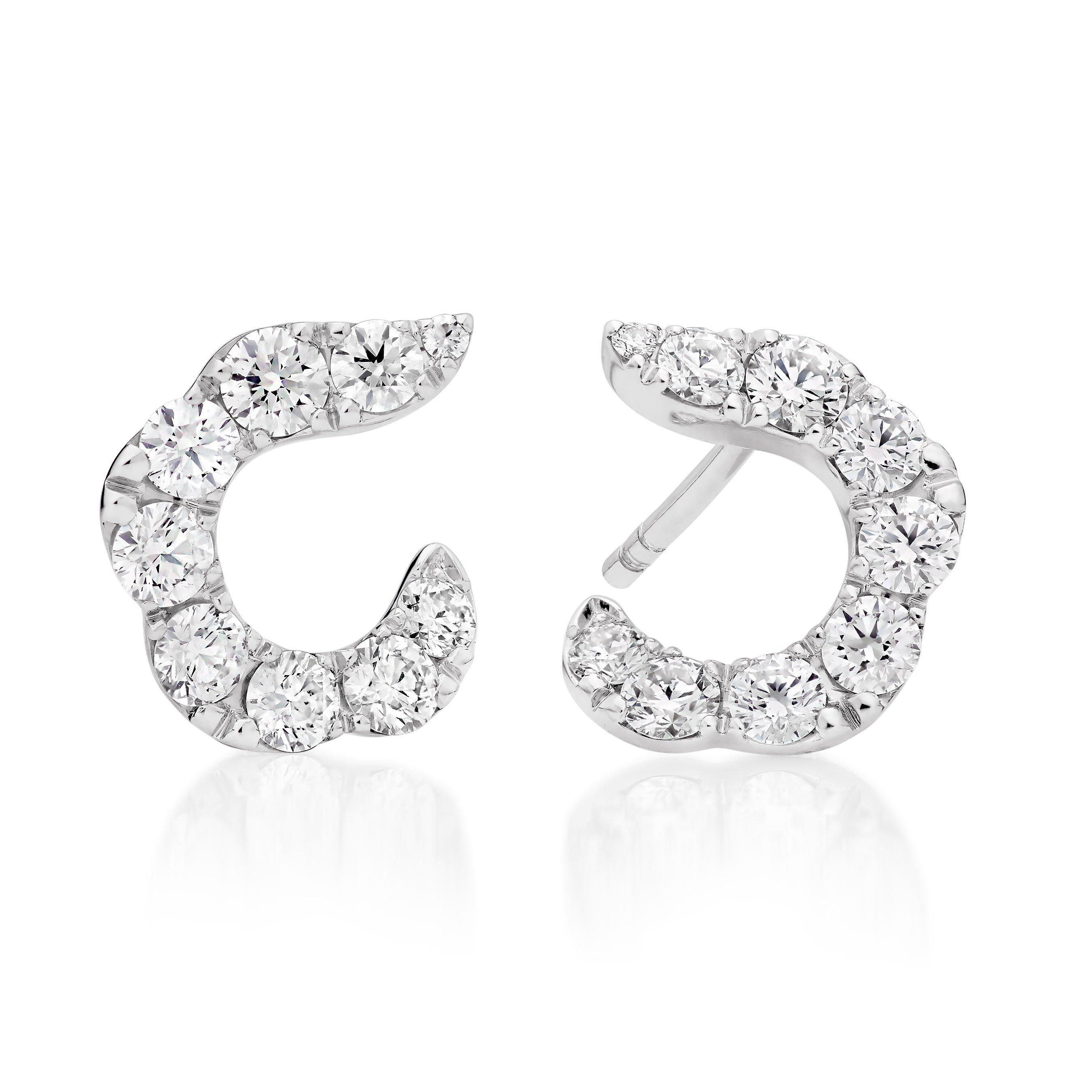 Hearts On Fire Lorelei 18ct White Gold Diamond Hoop Earrings