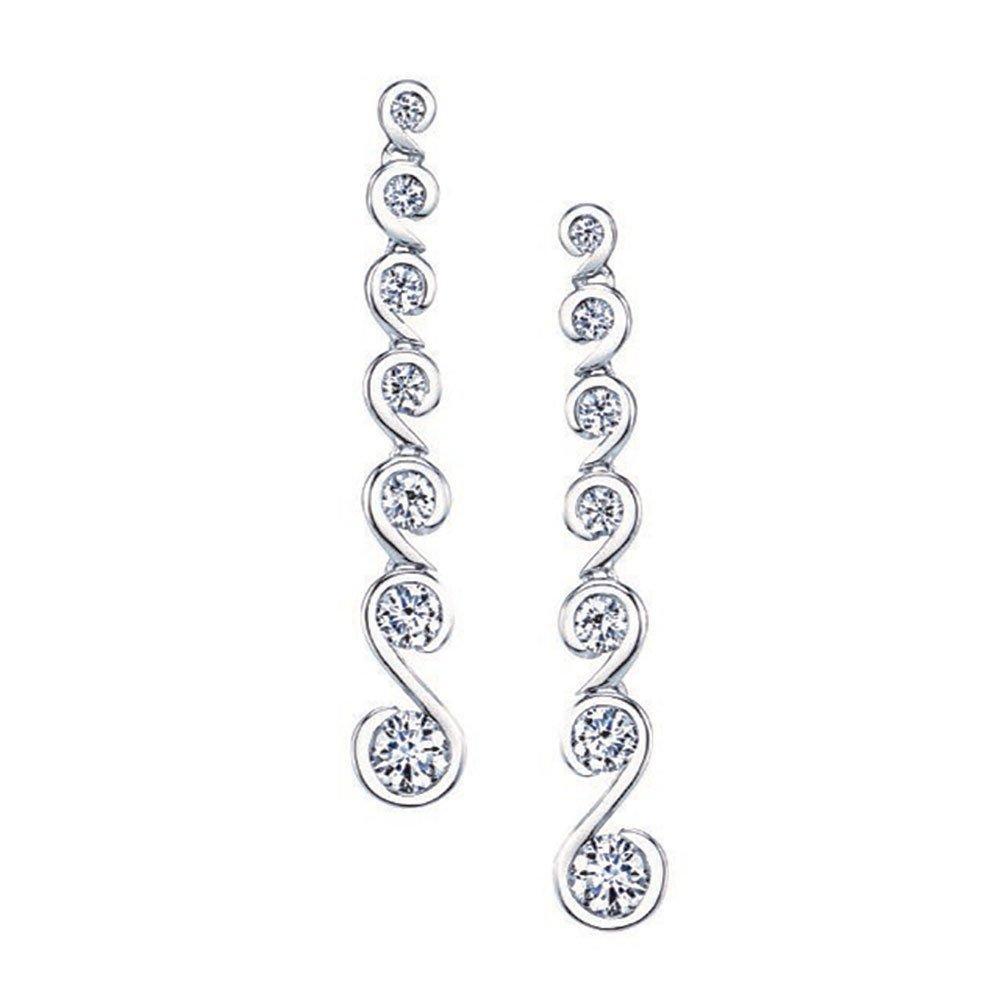 Maple Leaf Diamonds 18ct White Gold Diamond Drop Earrings