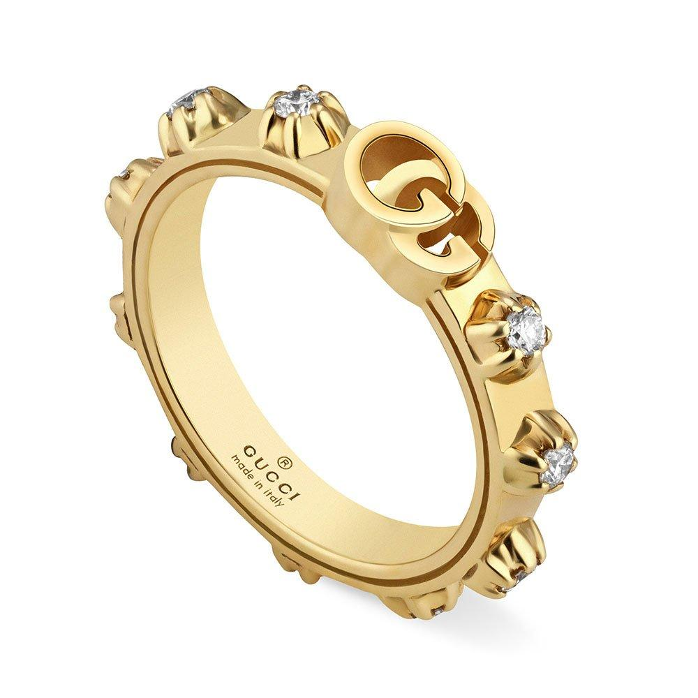 Gucci 18ct Gold Running G Diamond Ring
