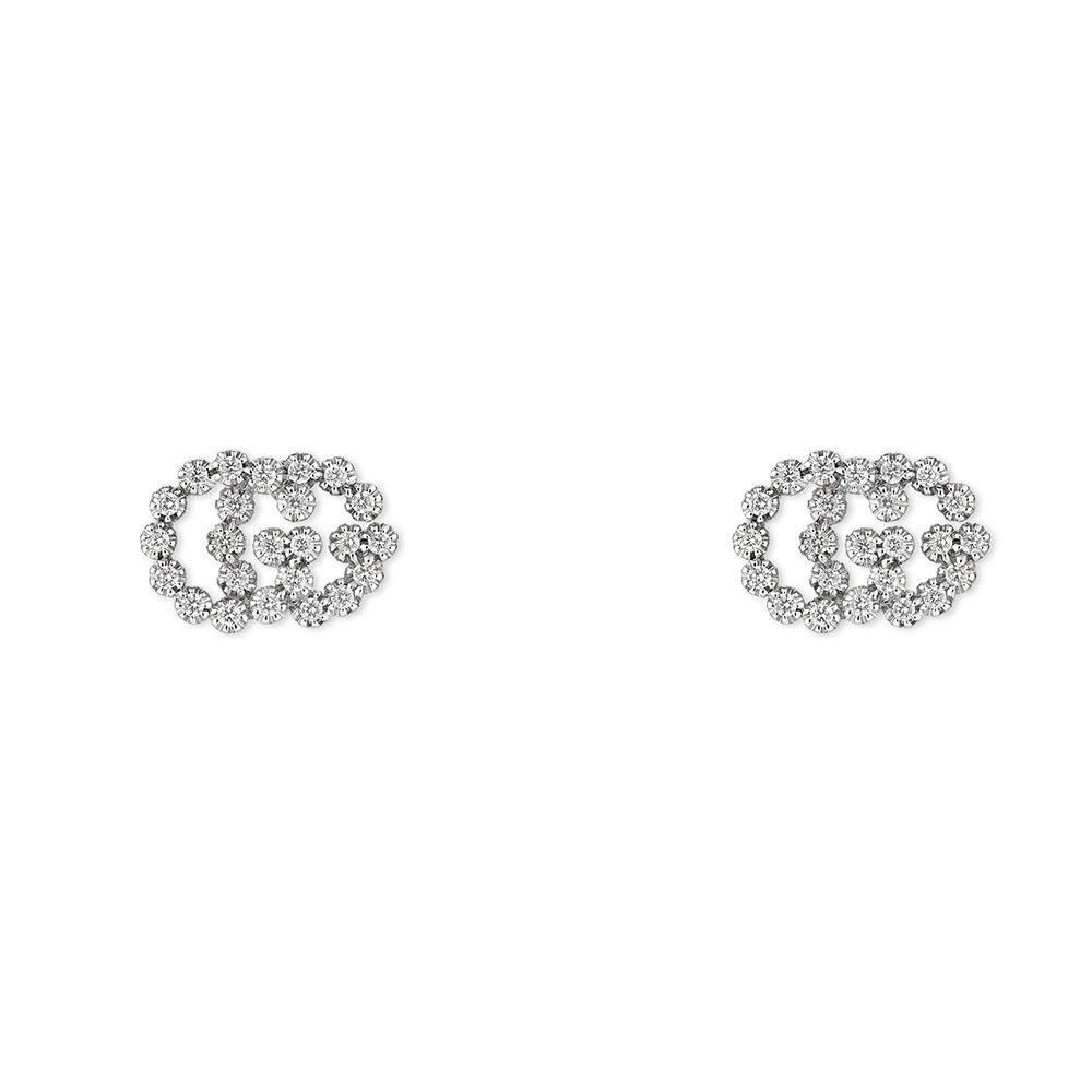 Gucci GG 18ct White Gold Diamond Earrings