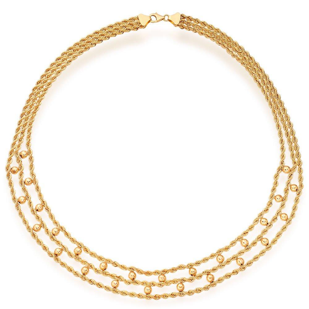 9ct Gold Multi Strand Ball Necklace