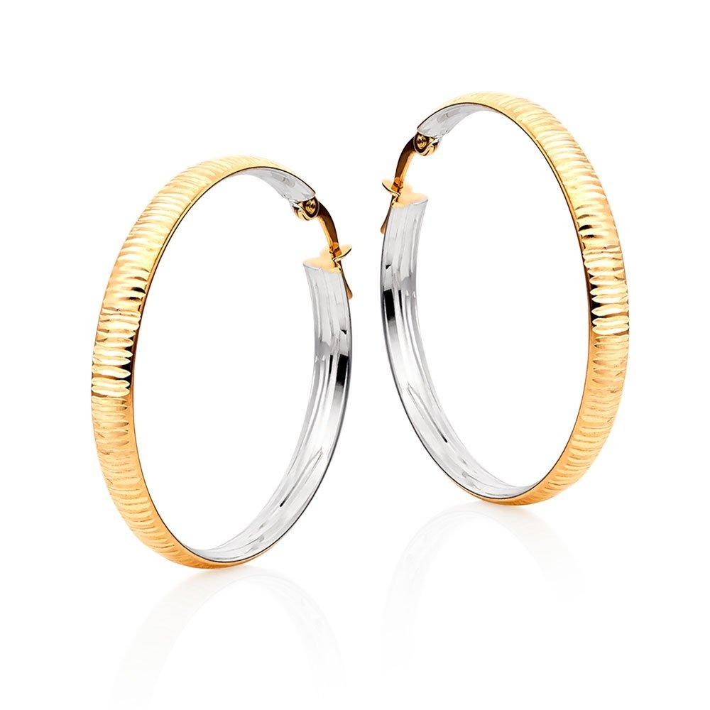 9ct Gold Textured Hoop Earrings