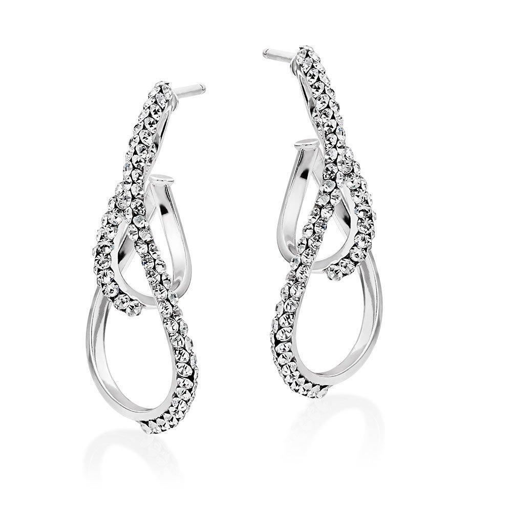 9ct White Gold Crystal Hoop Earrings