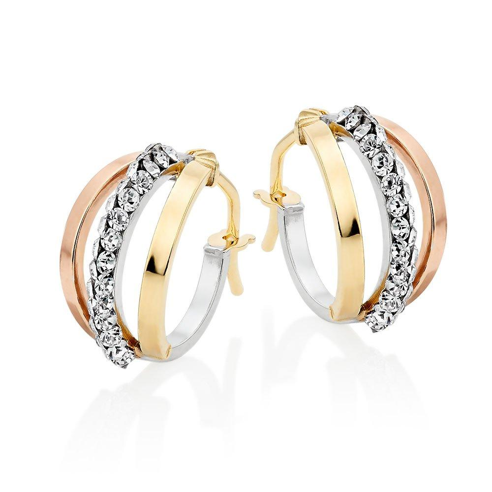 9ct Three Colour Gold Crystal Hoop Earrings