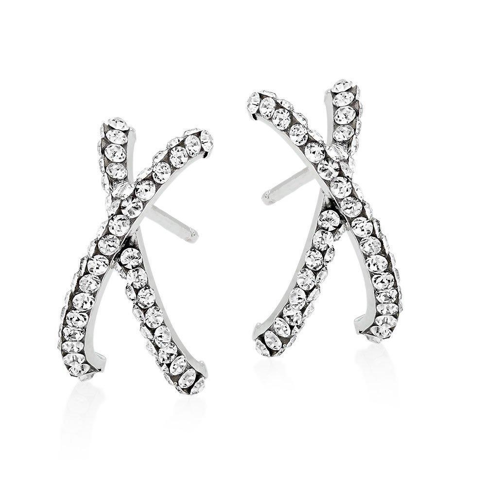 9ct White Gold Crystal Cross Hoop Earrings