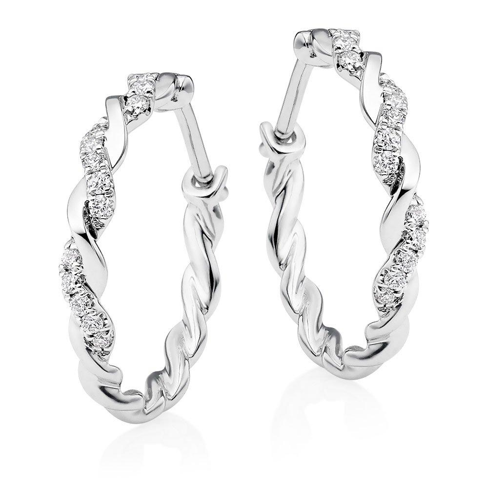 Entwine 9ct White Gold Diamond Hoop Earrings