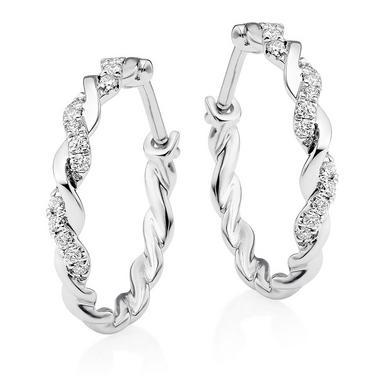 Entwine 9ct White Gold Diamond Hoop Earrings