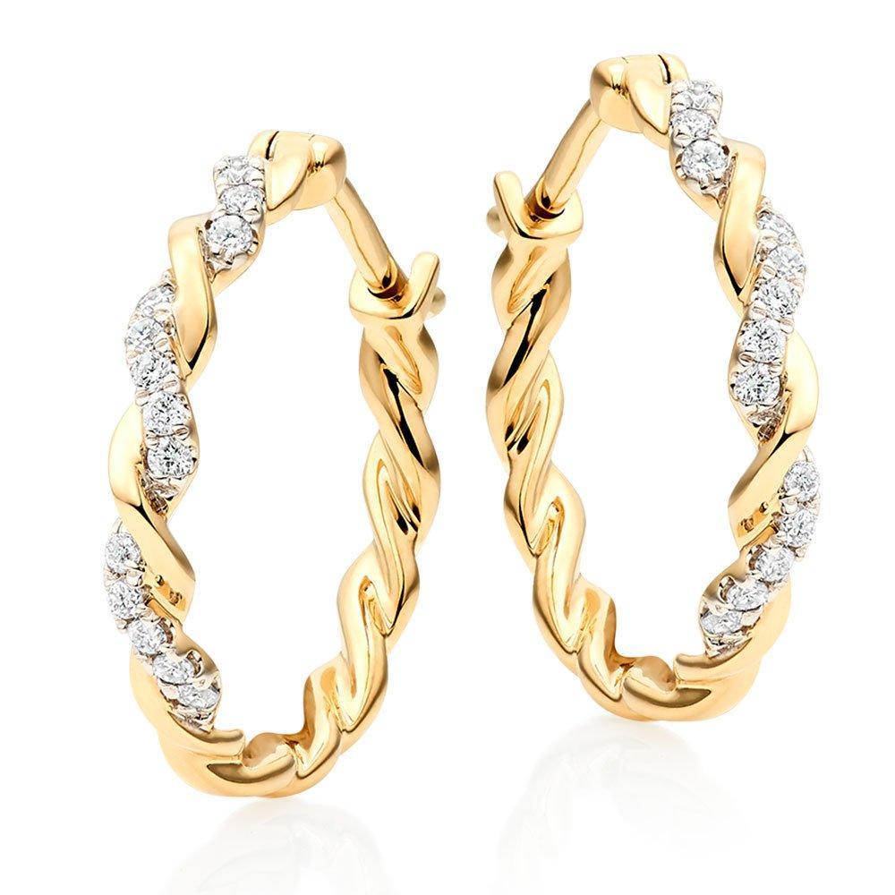 Entwine 9ct Gold Diamond Hoop Earrings
