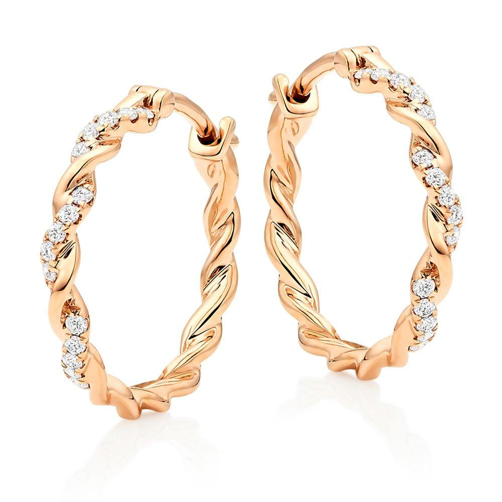 Entwine 9ct Rose Gold Diamond Hoop Earrings
