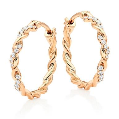 Entwine 9ct Rose Gold Diamond Hoop Earrings