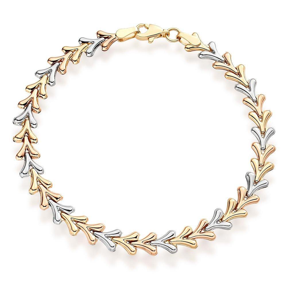 9ct Three Colour Gold Bracelet