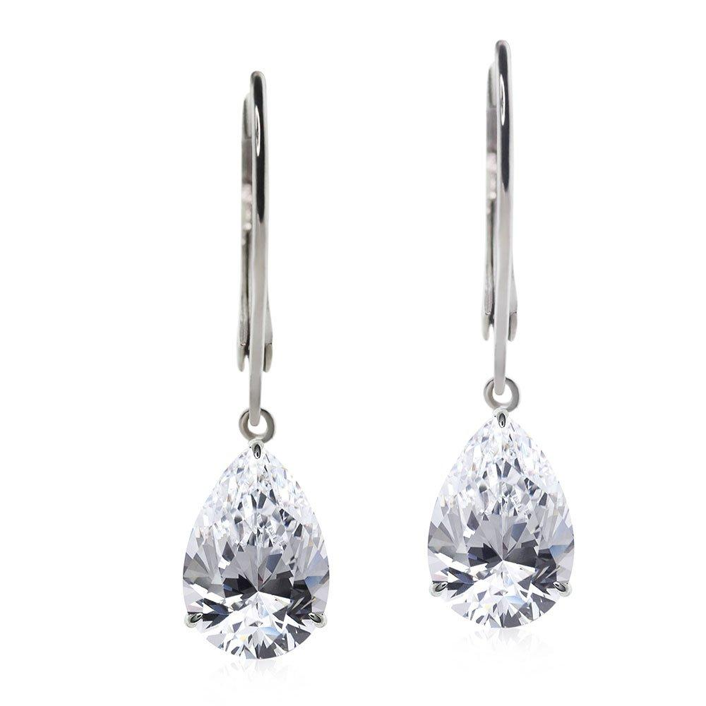 CARAT 9ct White Gold Pear Drops Earrings