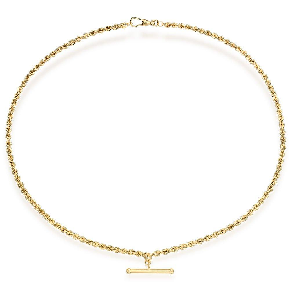 9ct Gold T-Bar Rope Necklace