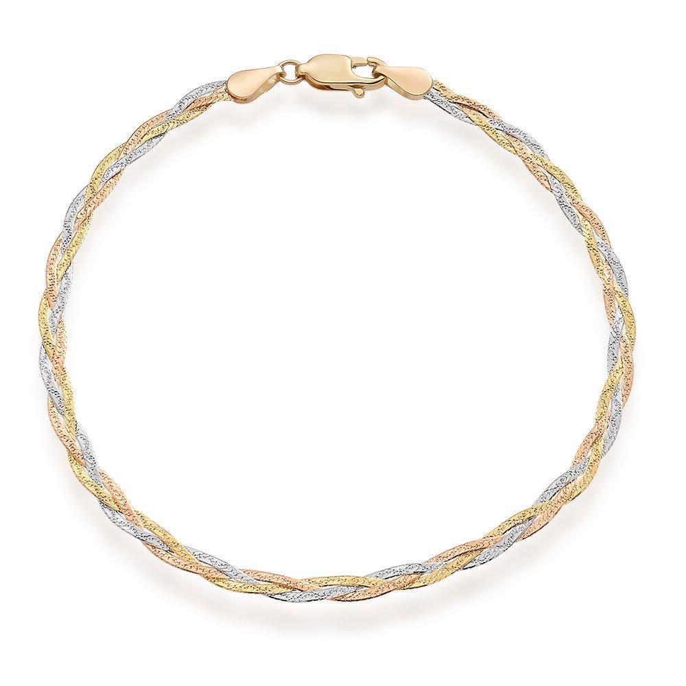 9ct Three Colour Gold Plait Bracelet