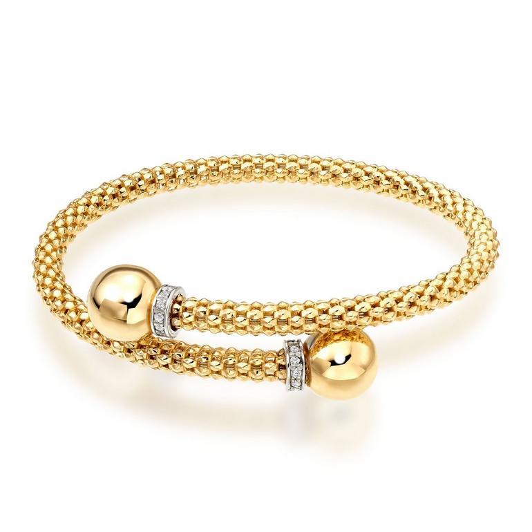 9ct Gold Diamond Ball Bangle