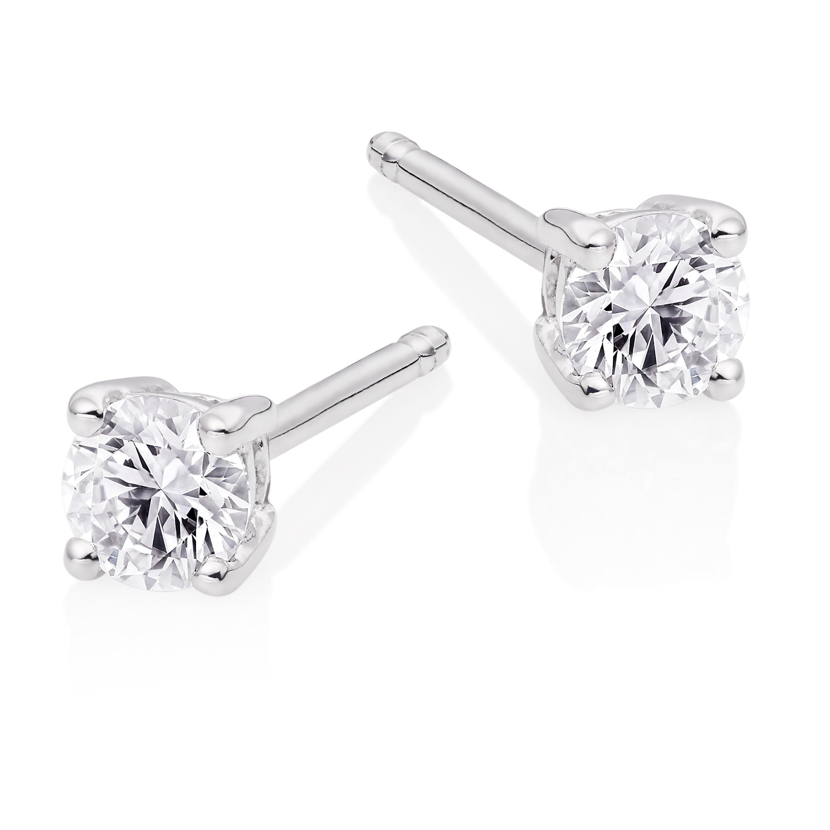 18ct White Gold Diamond Stud Earrings