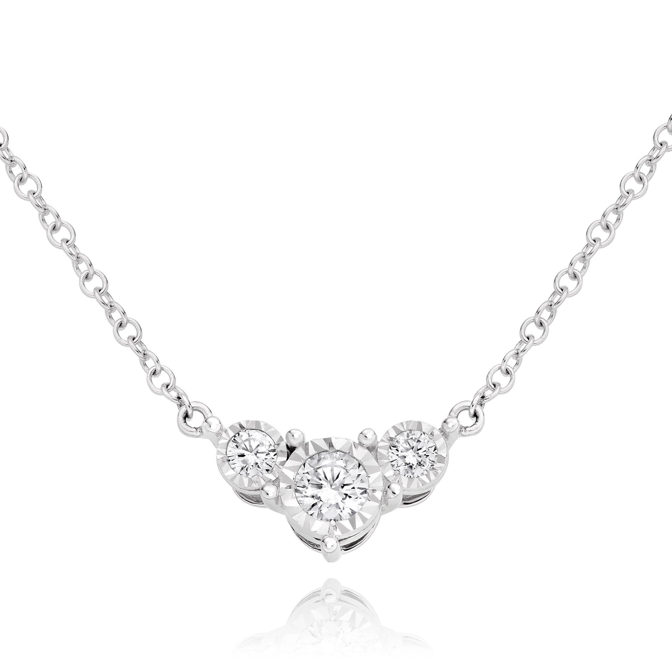 9ct White Gold Diamond Illusion Necklace